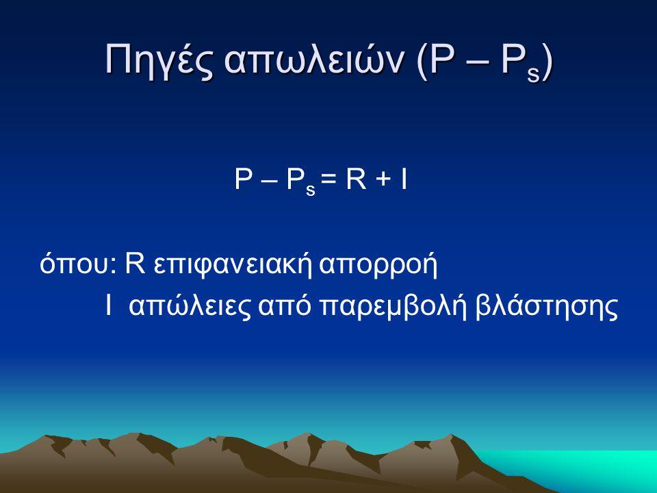 Πηγές απωλειών (Ρ – Ρs) P – Ps = R + I όπου: R επιφανειακή απορροή
