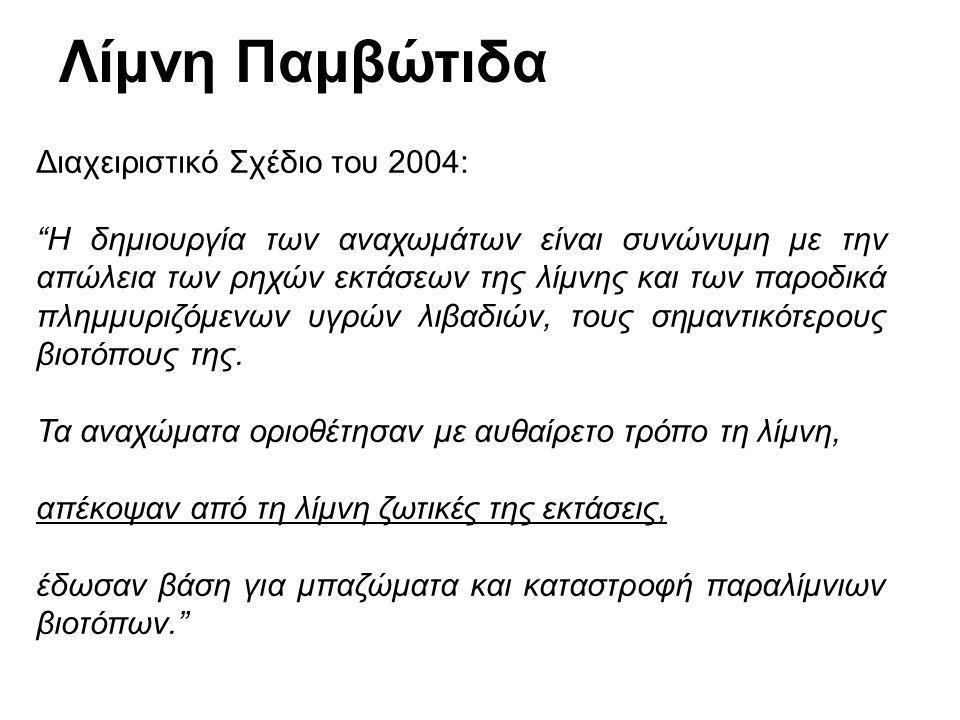 Λίμνη Παμβώτιδα Διαχειριστικό Σχέδιο του 2004: