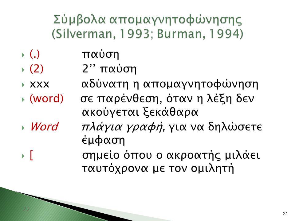 Σύμβολα απομαγνητοφώνησης (Silverman, 1993; Burman, 1994)