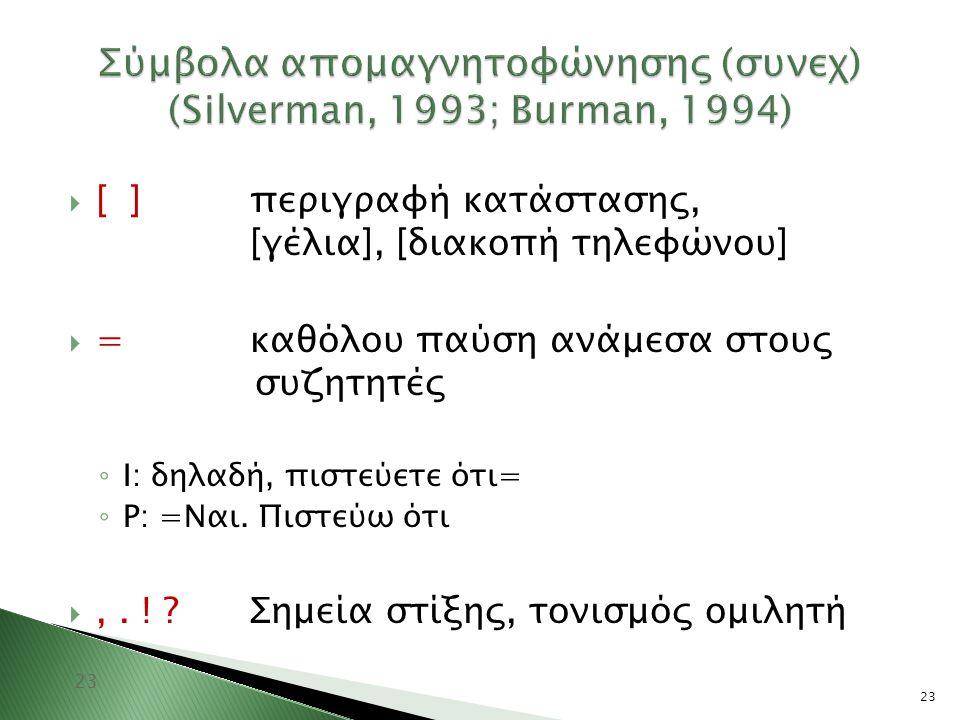 Σύμβολα απομαγνητοφώνησης (συνεχ) (Silverman, 1993; Burman, 1994)