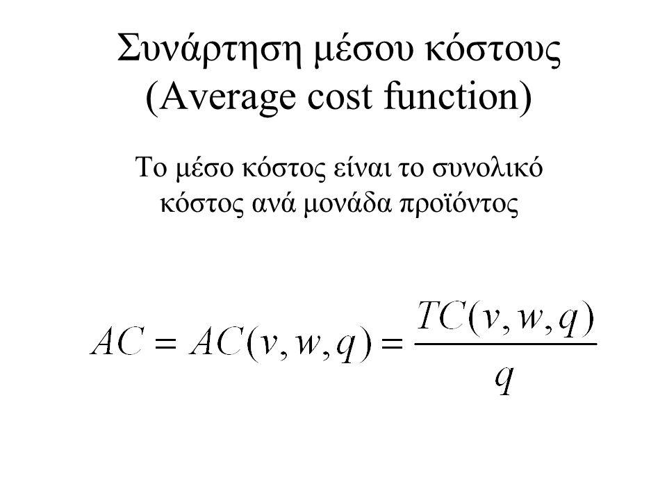 Συνάρτηση μέσου κόστους (Average cost function)