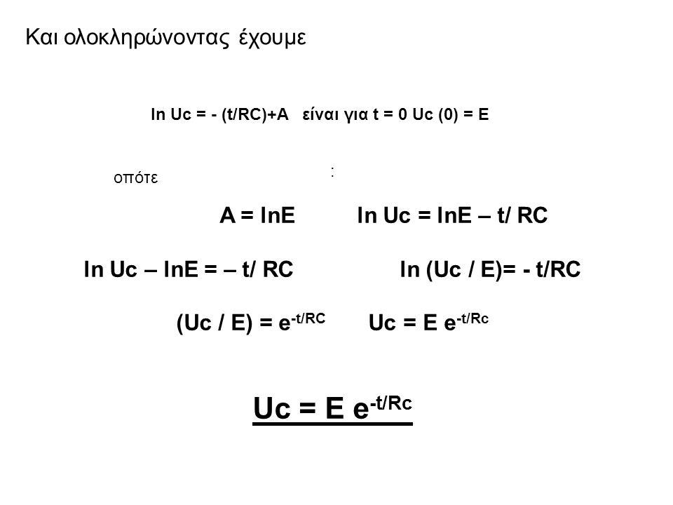 Uc = E e-t/Rc Και ολοκληρώνοντας έχουμε