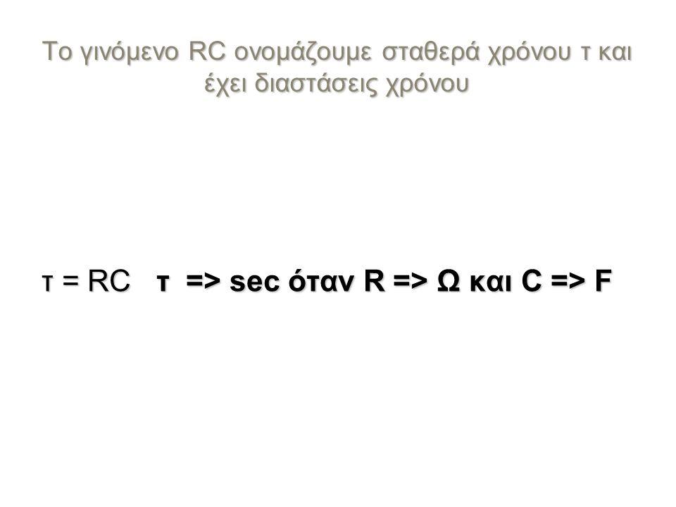 Το γινόμενο RC ονομάζουμε σταθερά χρόνου τ και έχει διαστάσεις χρόνου