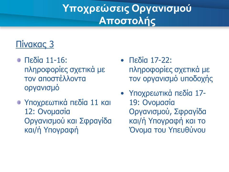 Υποχρεώσεις Οργανισμού Αποστολής