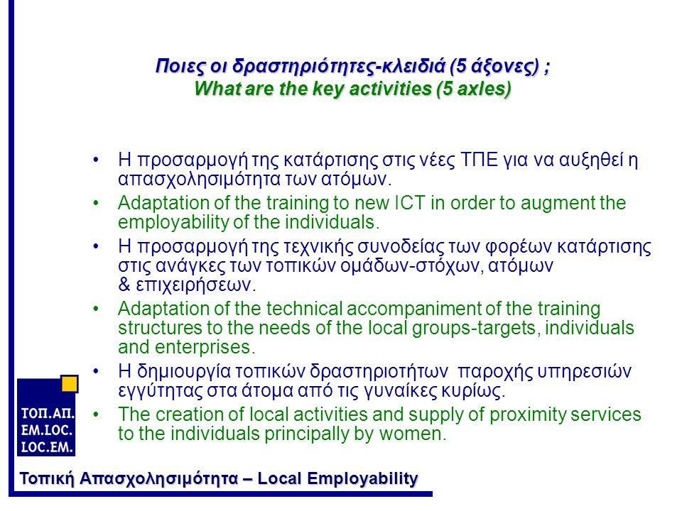 Ποιες οι δραστηριότητες-κλειδιά (5 άξονες) ; What are the key activities (5 axles)