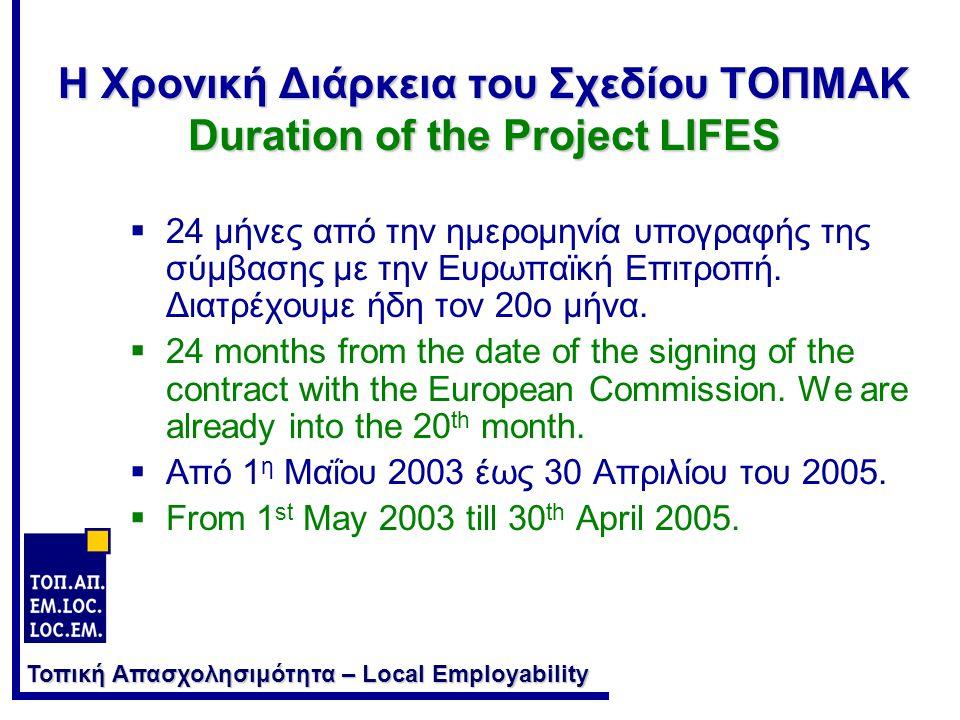 Η Χρονική Διάρκεια του Σχεδίου ΤΟΠΜΑΚ Duration of the Project LIFES