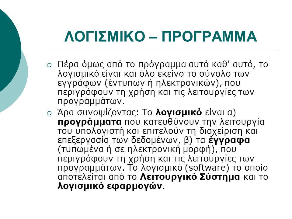 ΛΟΓΙΣΜΙΚΟ – ΠΡΟΓΡΑΜΜΑ
