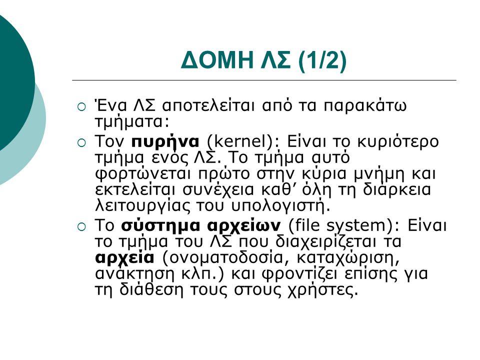 ΔΟΜΗ ΛΣ (1/2) Ένα ΛΣ αποτελείται από τα παρακάτω τμήματα: