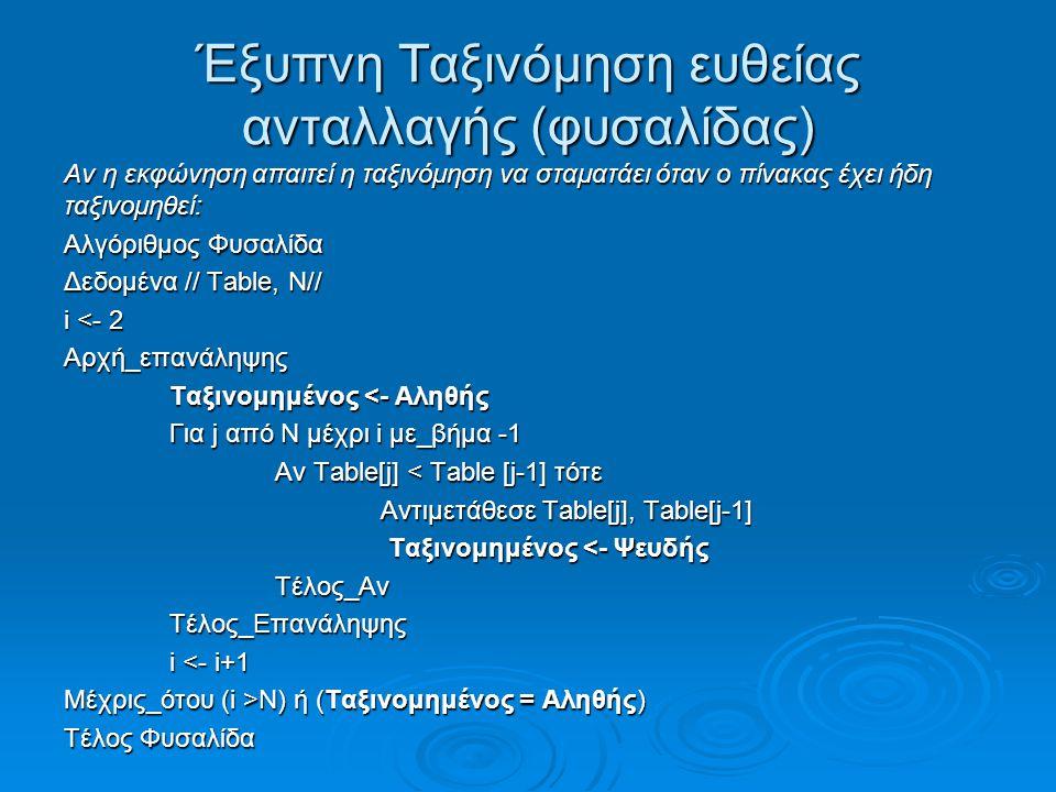 Έξυπνη Ταξινόμηση ευθείας ανταλλαγής (φυσαλίδας)
