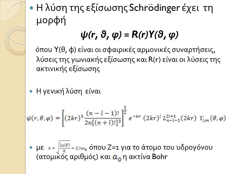 Η λύση της εξίσωσης Schrödinger έχει τη μορφή ψ(r, θ, φ) = R(r)Y(θ, φ)