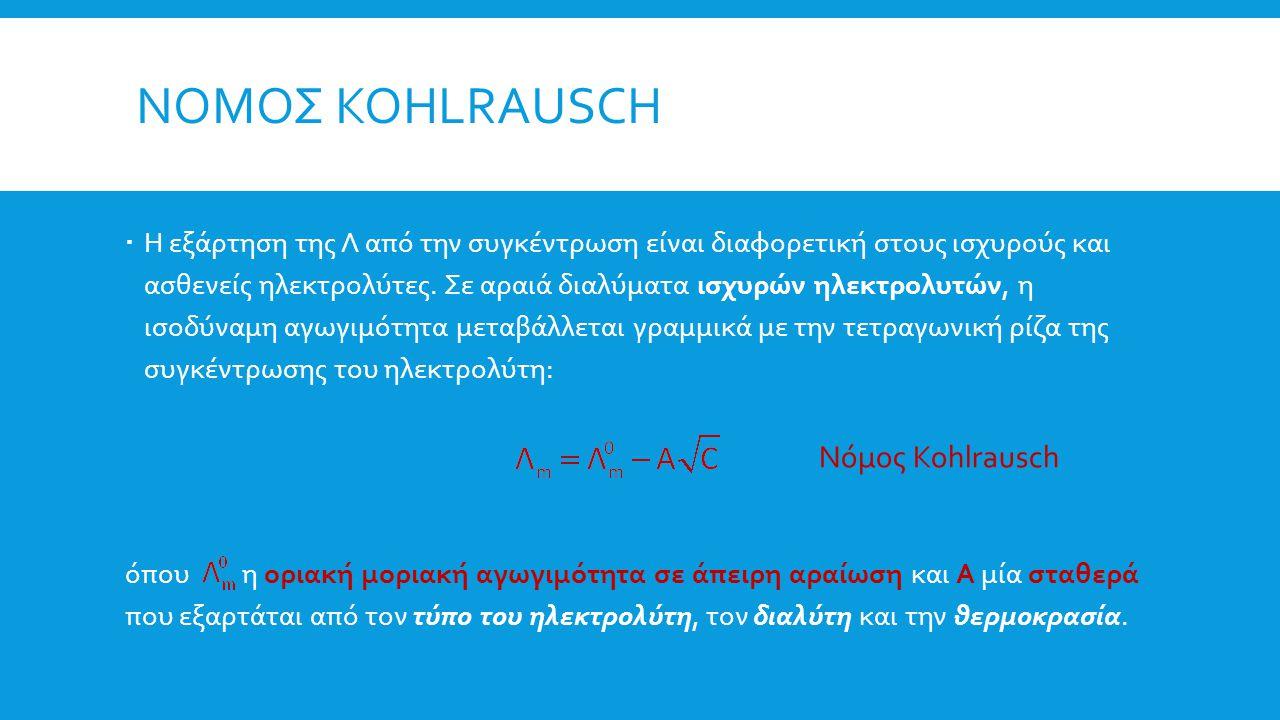 Νομος Kohlrausch Νόμος Kohlrausch