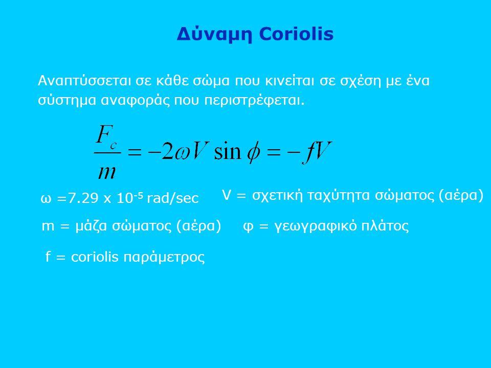 Δύναμη Coriolis Αναπτύσσεται σε κάθε σώμα που κινείται σε σχέση με ένα σύστημα αναφοράς που περιστρέφεται.