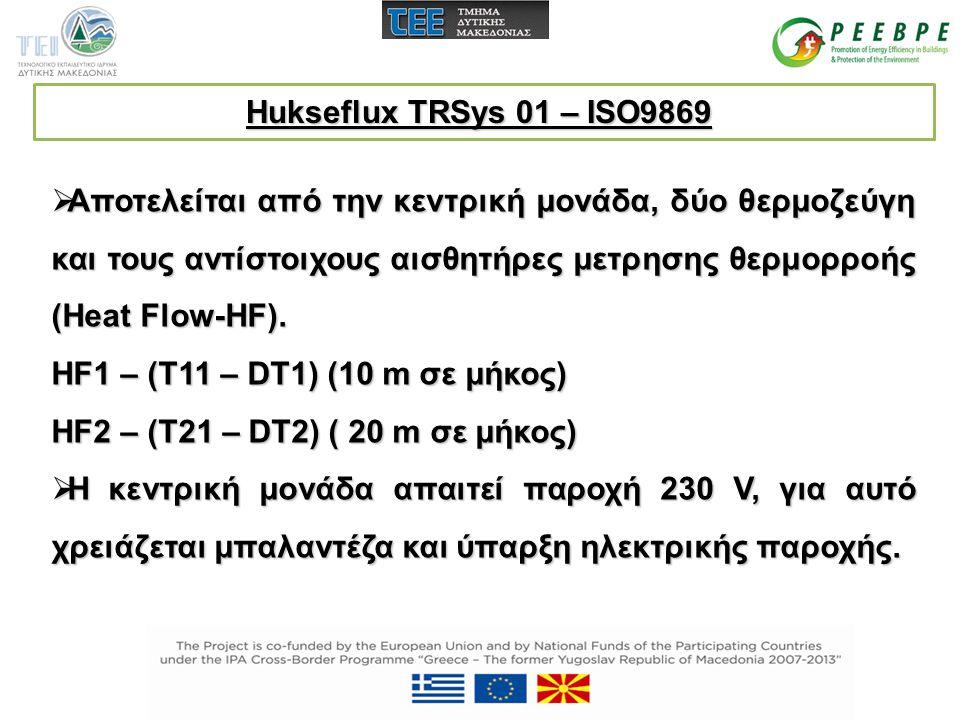 Hukseflux TRSys 01 – ISO9869 Αποτελείται από την κεντρική μονάδα, δύο θερμοζεύγη και τους αντίστοιχους αισθητήρες μετρησης θερμορροής (Heat Flow-HF).