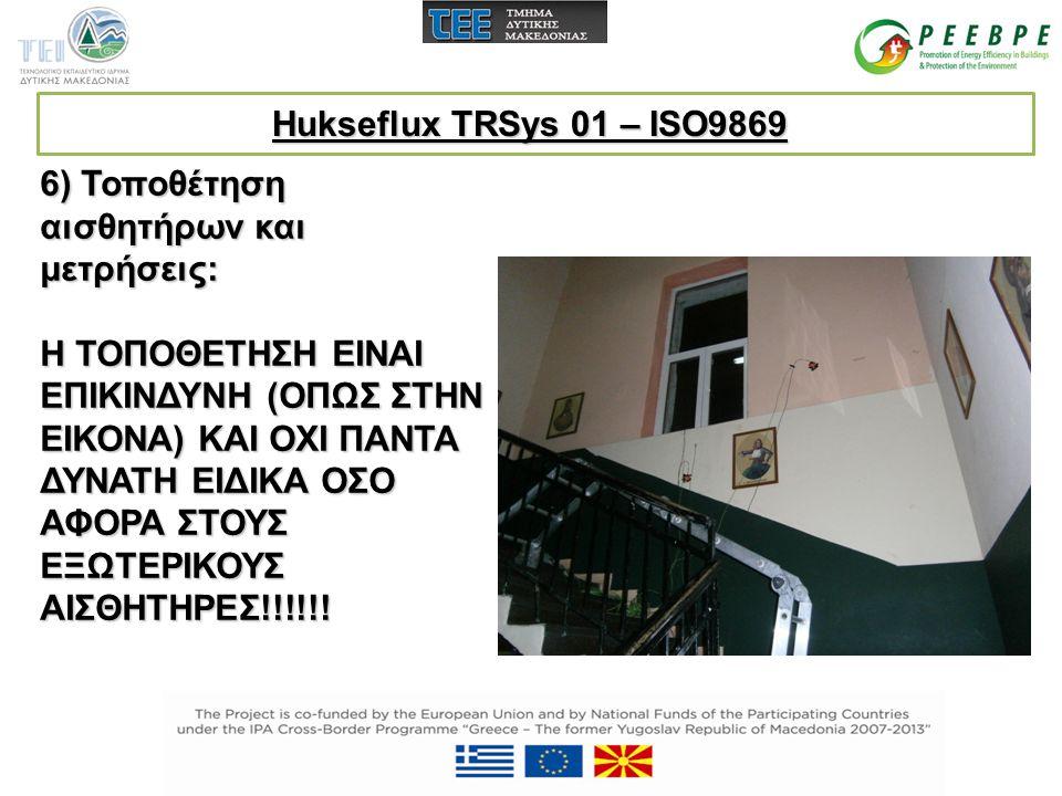 Hukseflux TRSys 01 – ISO9869 6) Τοποθέτηση αισθητήρων και μετρήσεις: