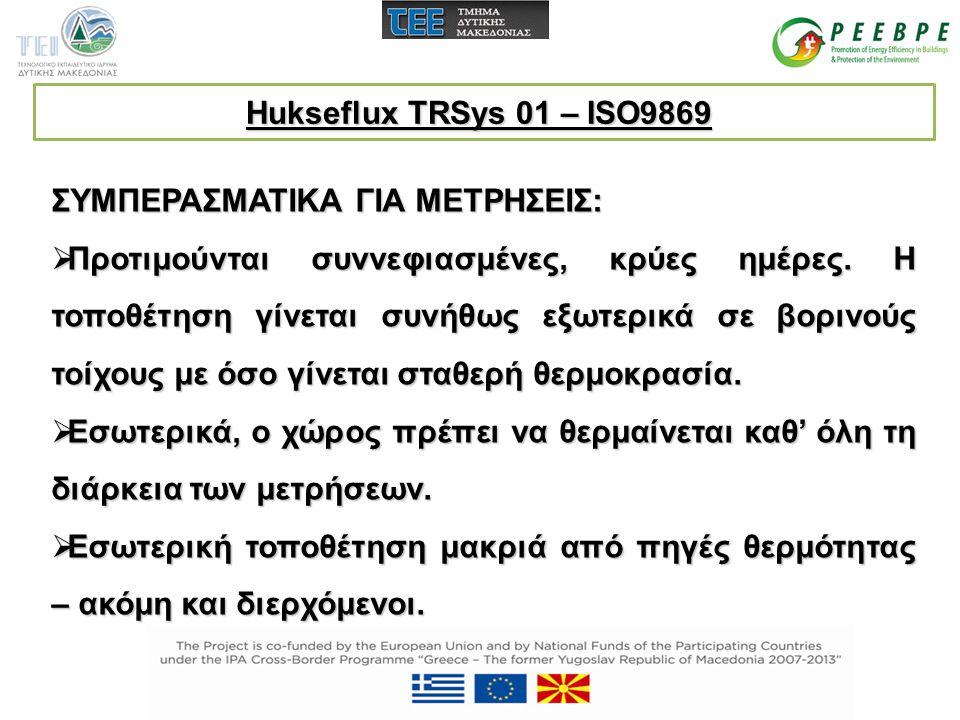 Hukseflux TRSys 01 – ISO9869 ΣΥΜΠΕΡΑΣΜΑΤΙΚΑ ΓΙΑ ΜΕΤΡΗΣΕΙΣ: