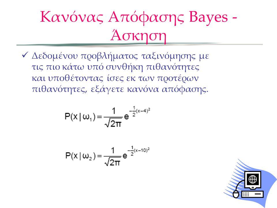 Κανόνας Απόφασης Bayes - Άσκηση