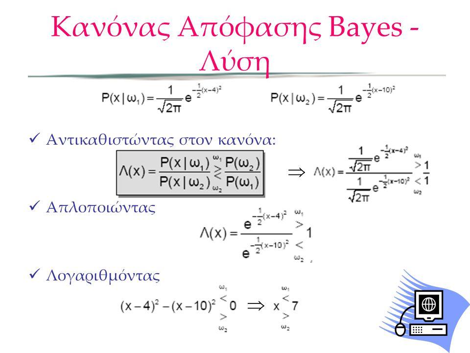 Κανόνας Απόφασης Bayes - Λύση