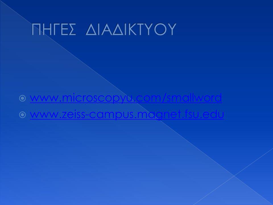 ΠΗΓΕΣ ΔΙΑΔΙΚΤΥΟΥ www.microscopyu.com/smallword