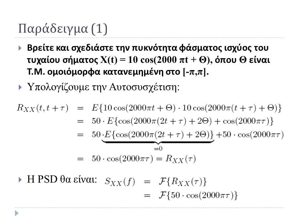 Παράδειγμα (1) Υπολογίζουμε την Αυτοσυσχέτιση: Η PSD θα είναι: