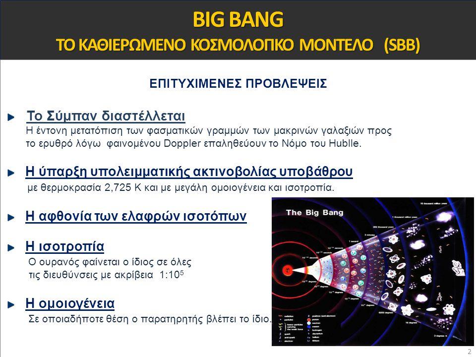 BIG BANG ΤΟ ΚΑΘΙΕΡΩΜΕΝΟ ΚΟΣΜΟΛΟΓΙΚΟ ΜΟΝΤΕΛΟ (SBB)