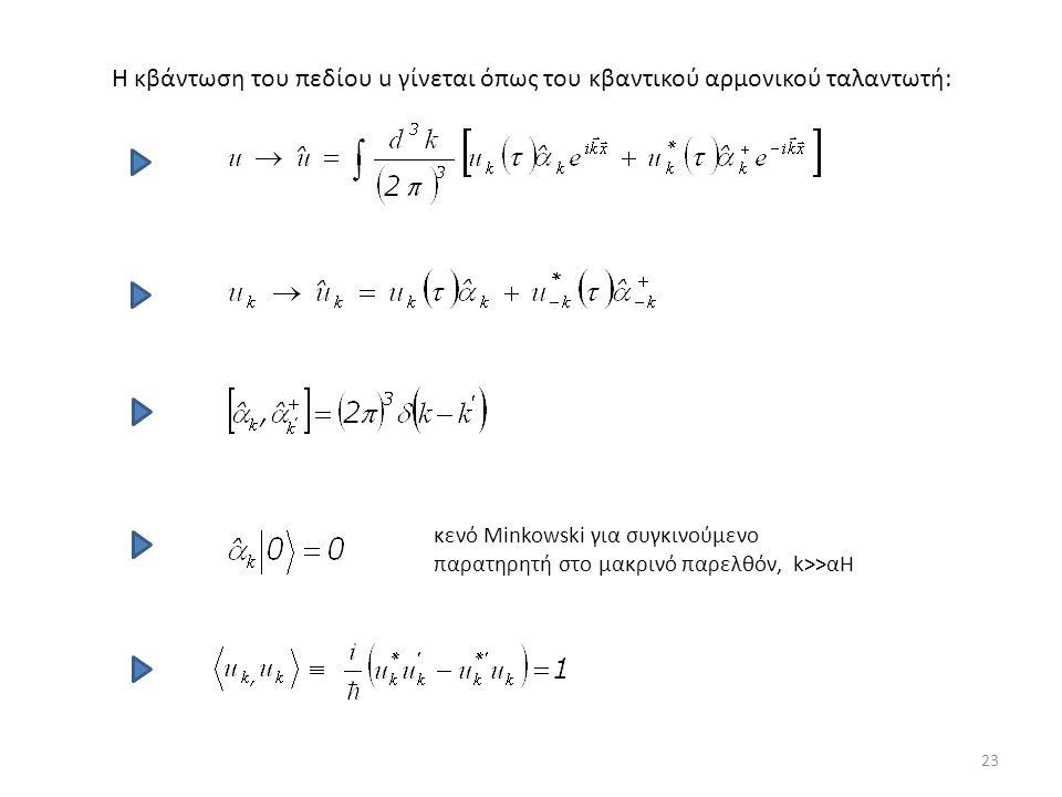 Η κβάντωση του πεδίου u γίνεται όπως του κβαντικού αρμονικού ταλαντωτή: