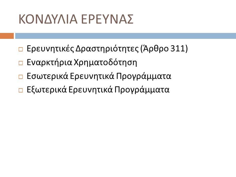 ΚΟΝΔΥΛΙΑ ΕΡΕΥΝΑΣ Ερευνητικές Δραστηριότητες (Άρθρο 311)