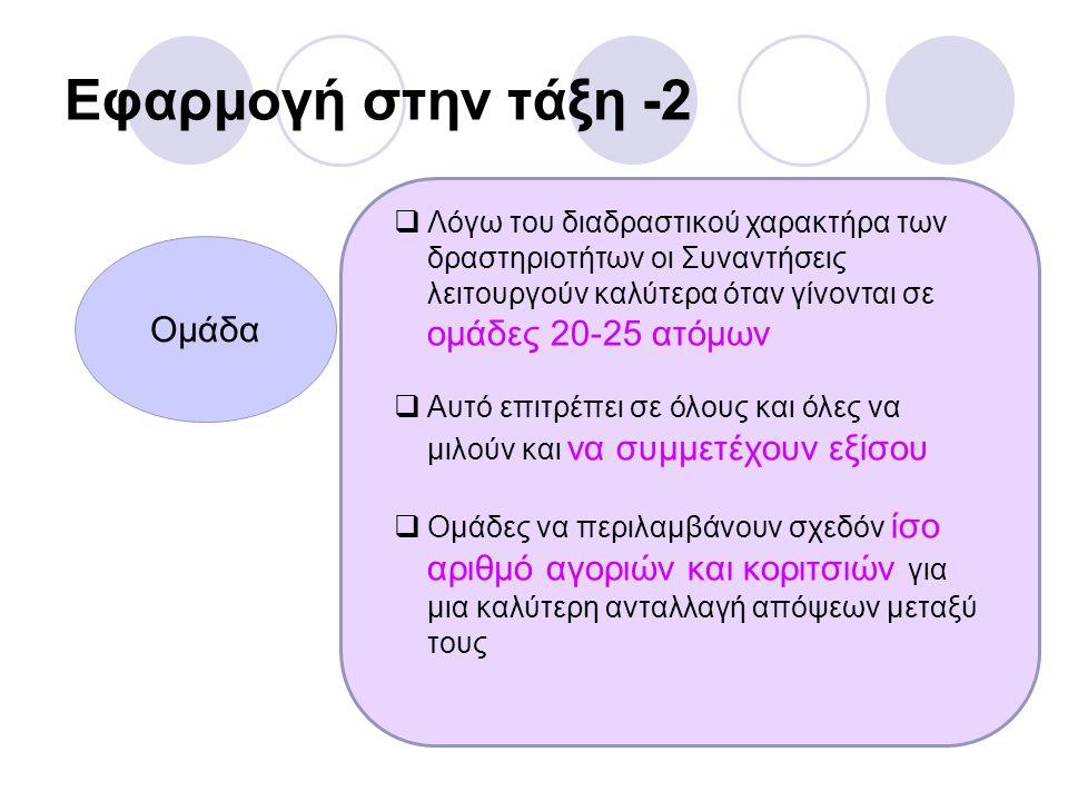 Εφαρμογή στην τάξη -2 Ομάδα