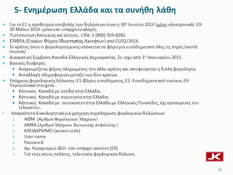 5- Ενημέρωση Ελλάδα και τα συνήθη λάθη