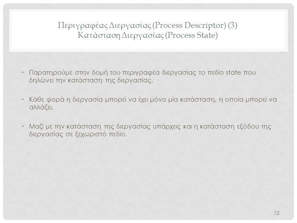 Περιγραφέας Διεργασίας (Process Descriptor) (3) Κατάσταση Διεργασίας (Process State)