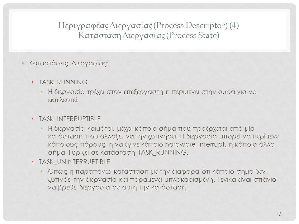 Περιγραφέας Διεργασίας (Process Descriptor) (4) Κατάσταση Διεργασίας (Process State)