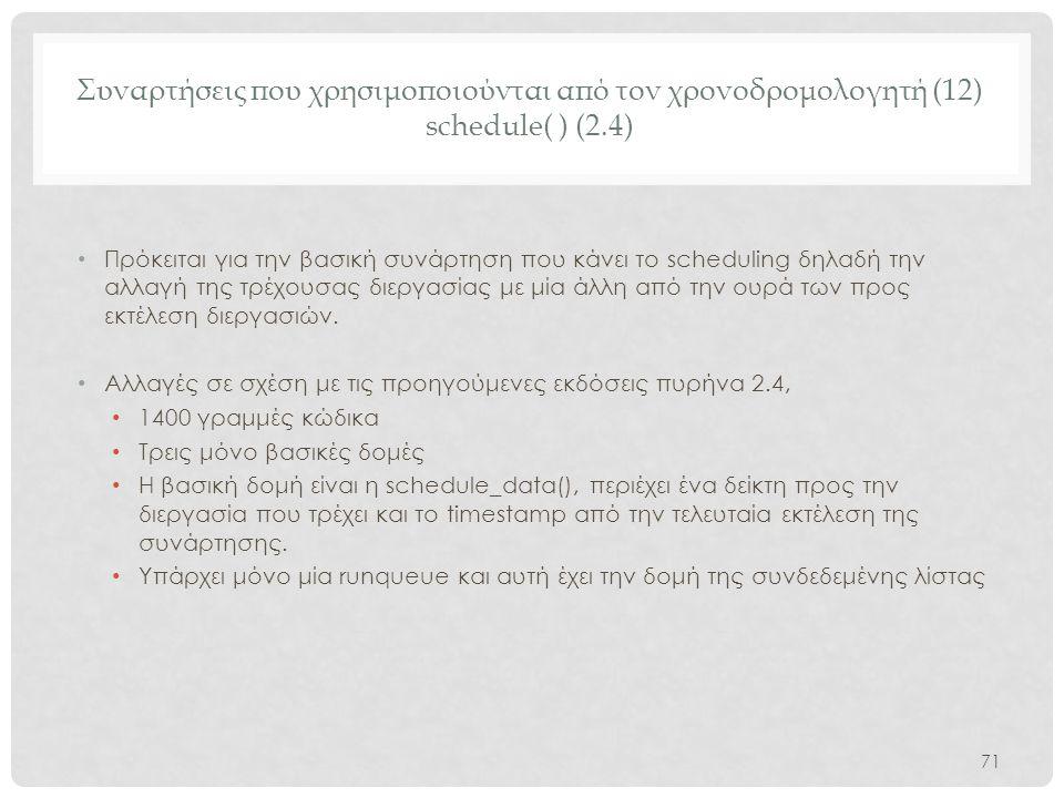 Συναρτήσεις που χρησιμοποιούνται από τον χρονοδρομολογητή (12) schedule( ) (2.4)