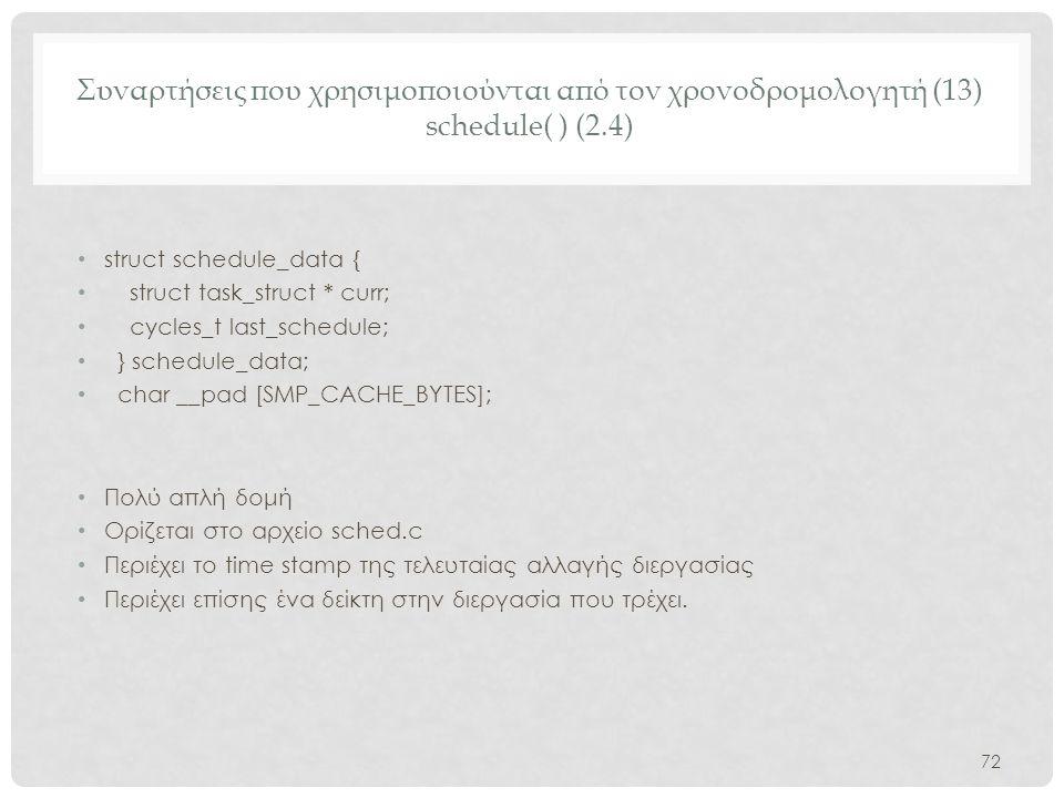 Συναρτήσεις που χρησιμοποιούνται από τον χρονοδρομολογητή (13) schedule( ) (2.4)