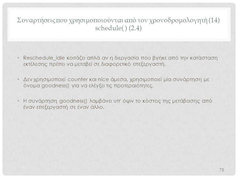 Συναρτήσεις που χρησιμοποιούνται από τον χρονοδρομολογητή (14) schedule( ) (2.4)