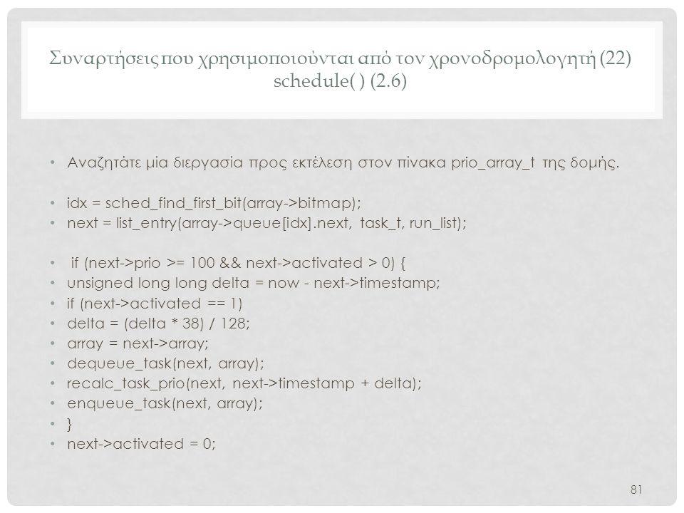 Συναρτήσεις που χρησιμοποιούνται από τον χρονοδρομολογητή (22) schedule( ) (2.6)