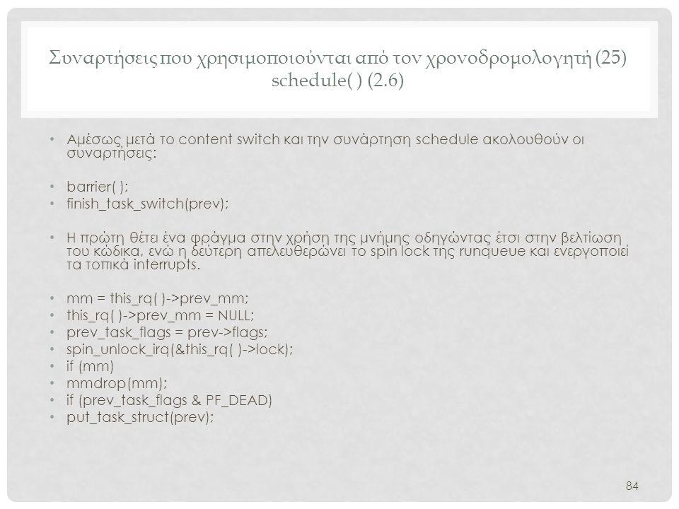 Συναρτήσεις που χρησιμοποιούνται από τον χρονοδρομολογητή (25) schedule( ) (2.6)