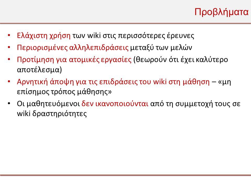 Προβλήματα Ελάχιστη χρήση των wiki στις περισσότερες έρευνες