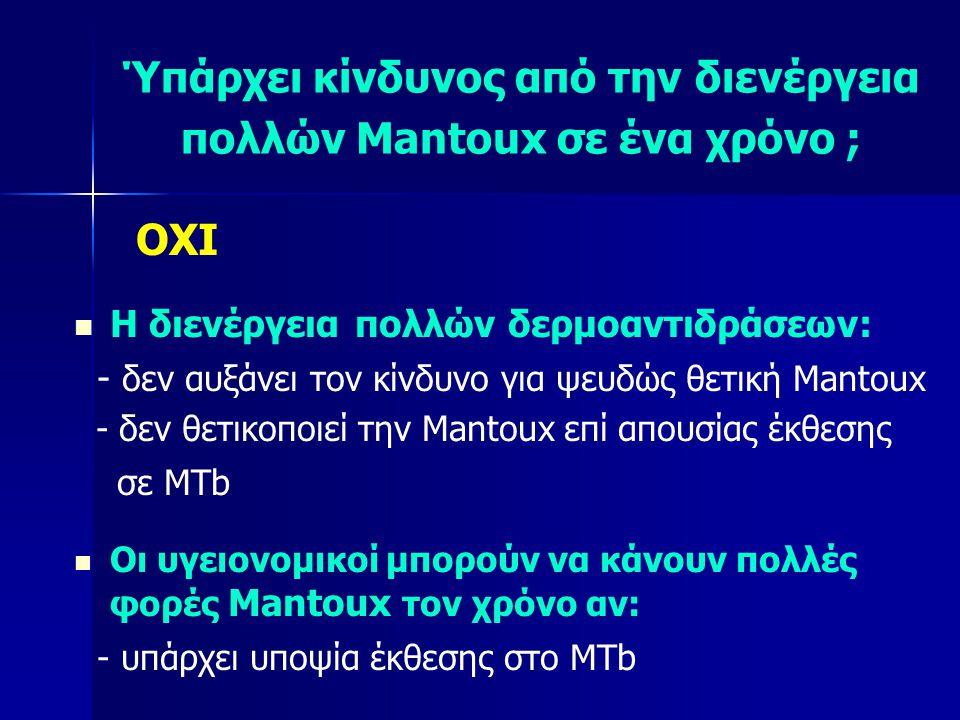 Ύπάρχει κίνδυνος από την διενέργεια πολλών Mantoux σε ένα χρόνο ;
