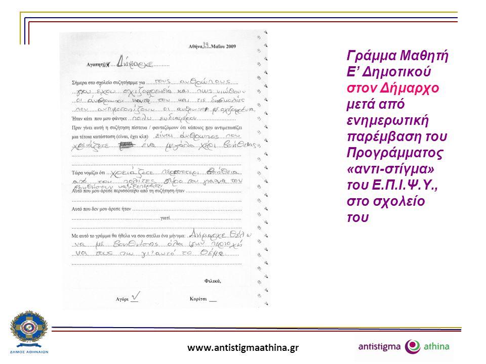 Γράμμα Μαθητή Ε' Δημοτικού στον Δήμαρχο μετά από ενημερωτική παρέμβαση του Προγράμματος «αντι-στίγμα» του Ε.Π.Ι.Ψ.Υ., στο σχολείο του