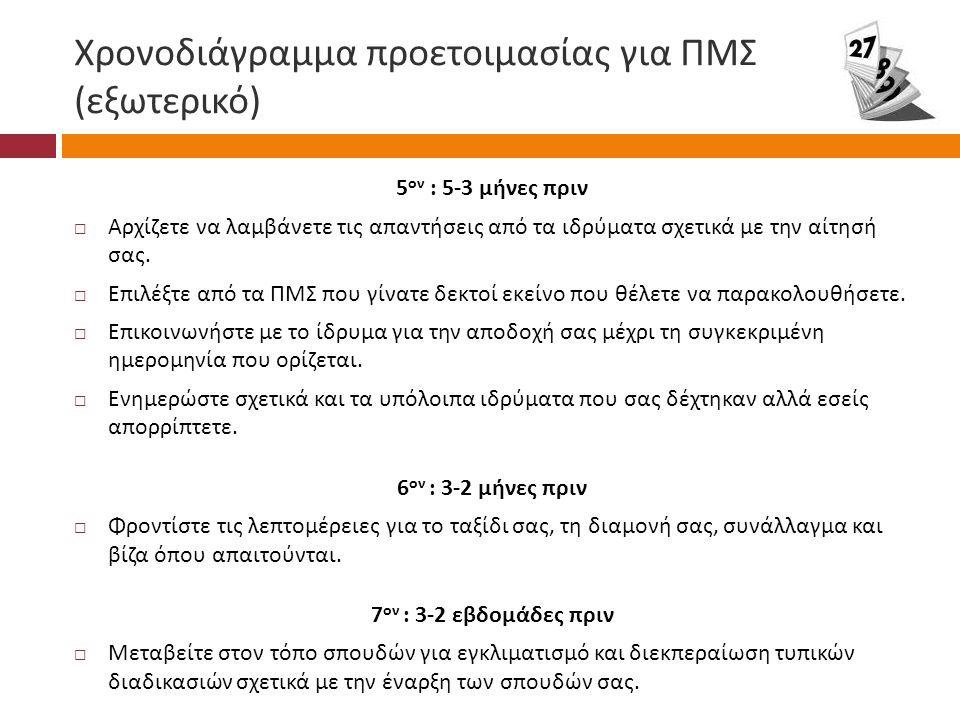 Χρονοδιάγραμμα προετοιμασίας για ΠΜΣ (εξωτερικό)