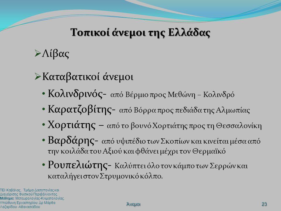 Τοπικοί άνεμοι της Ελλάδας