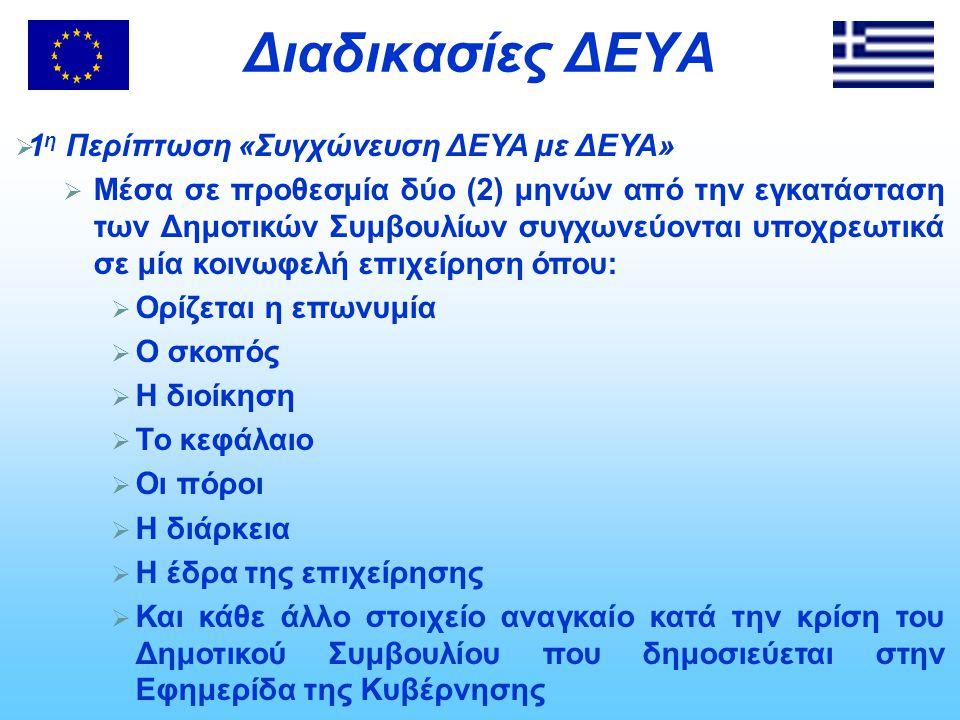 Διαδικασίες ΔΕΥΑ 1η Περίπτωση «Συγχώνευση ΔΕΥΑ με ΔΕΥΑ»