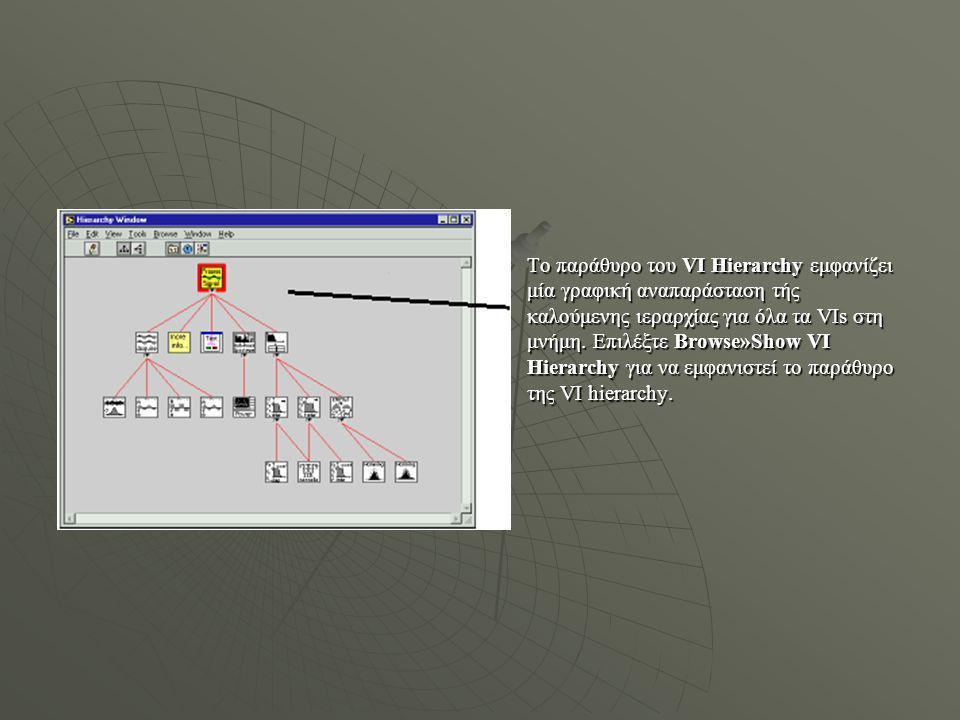 Το παράθυρο του VI Hierarchy εμφανίζει μία γραφική αναπαράσταση τής καλούμενης ιεραρχίας για όλα τα VIs στη μνήμη.