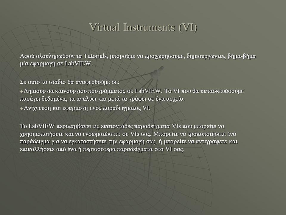 Virtual Instruments (VI)