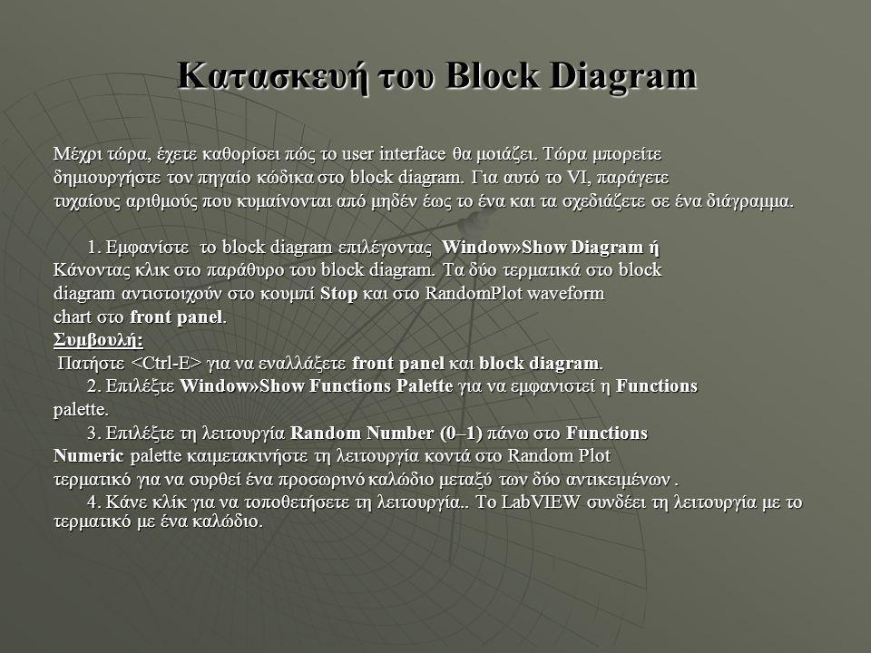 Κατασκευή του Block Diagram