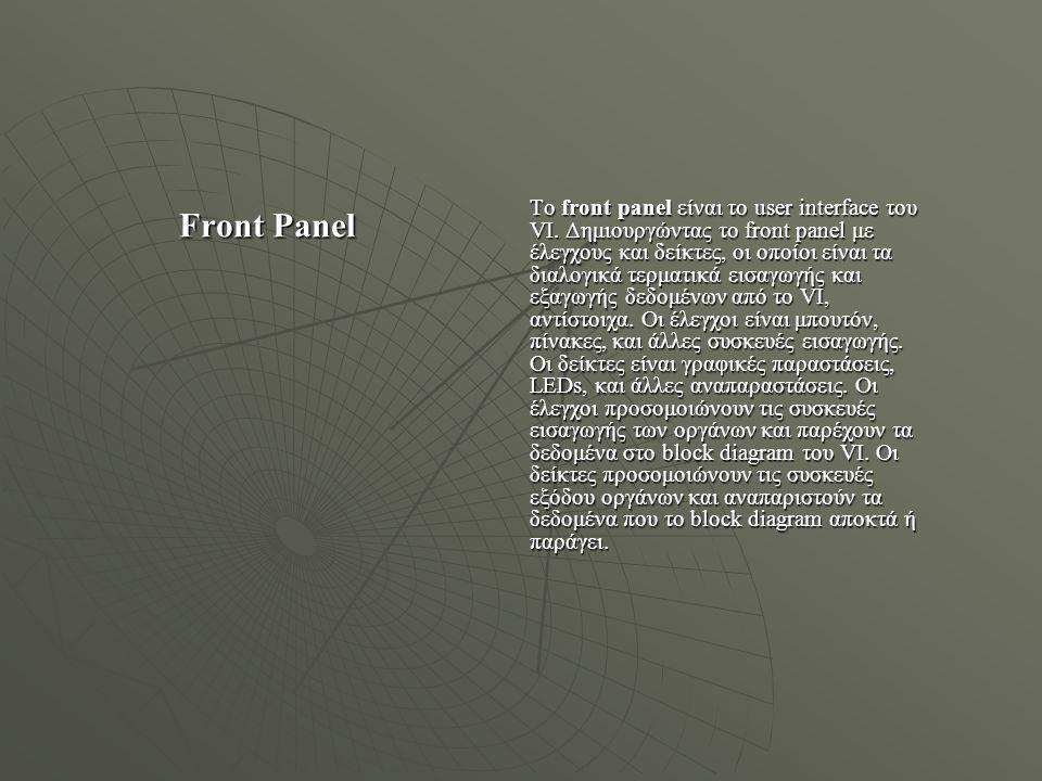 Το front panel είναι το user interface του VI