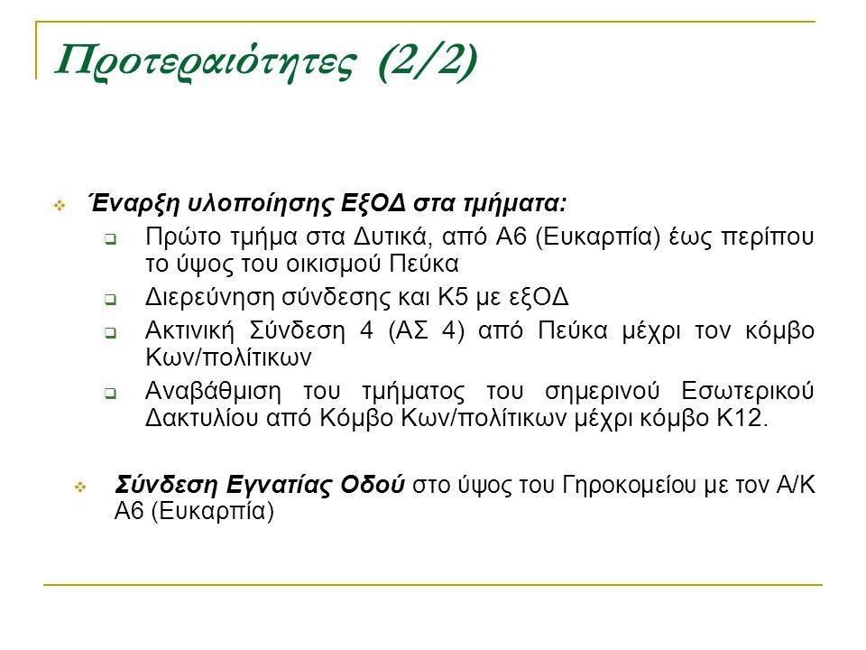 Προτεραιότητες (2/2) Έναρξη υλοποίησης ΕξΟΔ στα τμήματα: