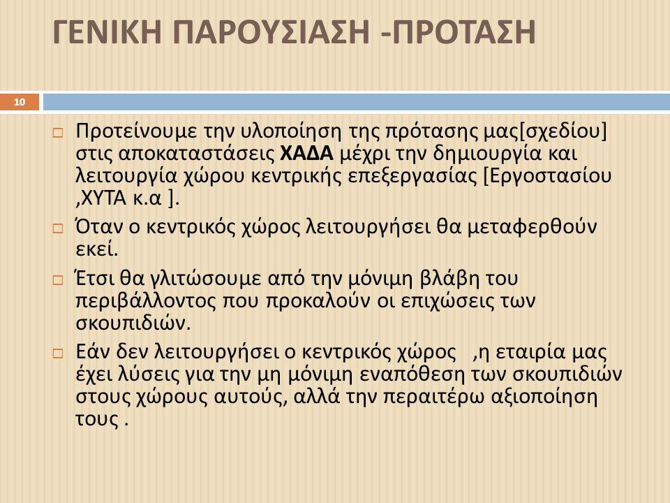 ΓΕΝΙΚΗ ΠΑΡΟΥΣΙΑΣΗ -ΠΡΟΤΑΣΗ