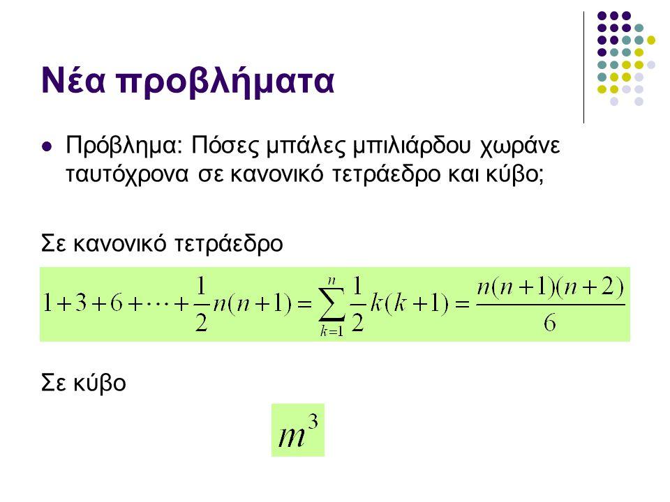 Νέα προβλήματα Πρόβλημα: Πόσες μπάλες μπιλιάρδου χωράνε ταυτόχρονα σε κανονικό τετράεδρο και κύβο; Σε κανονικό τετράεδρο.