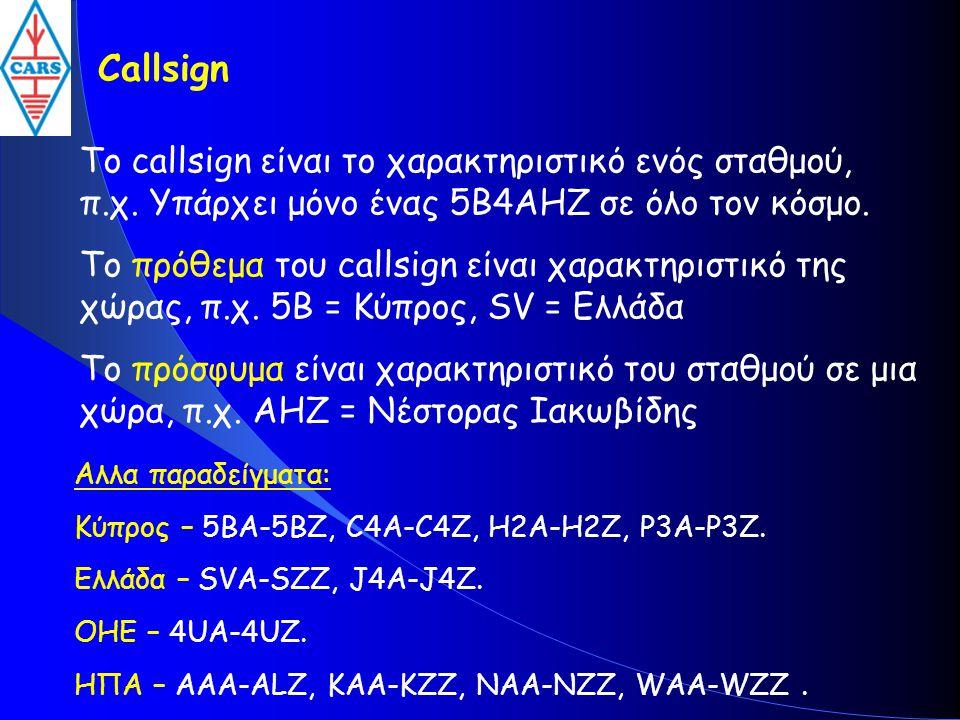 Callsign Το callsign είναι το χαρακτηριστικό ενός σταθμού, π.χ. Υπάρχει μόνο ένας 5B4AHZ σε όλο τον κόσμο.