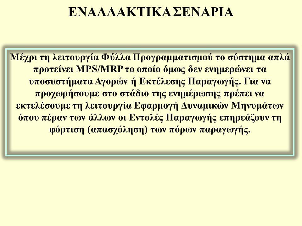 ΕΝΑΛΛΑΚΤΙΚΑ ΣΕΝΑΡΙΑ